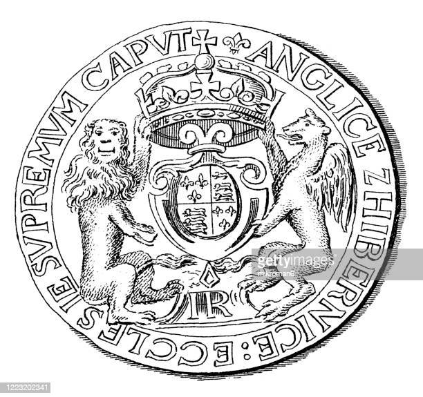 numismatics - crown of henry viii, gold coin. antique illustration, popular encyclopedia published 1894 - insignia stock pictures, royalty-free photos & images