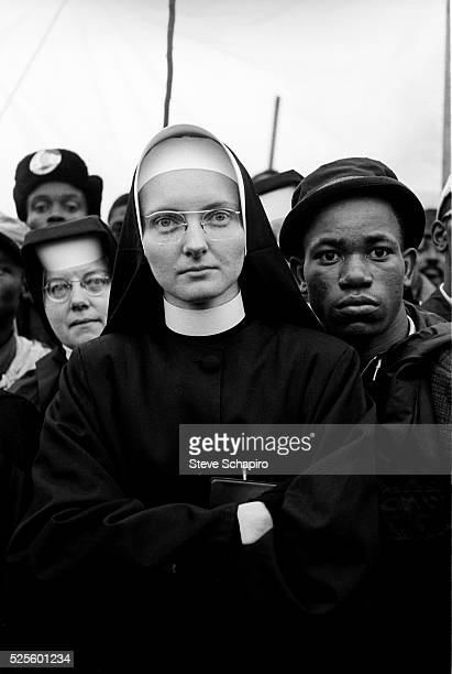 Nun and among participants in the Selma to Montgomery march, 14th March 1965.