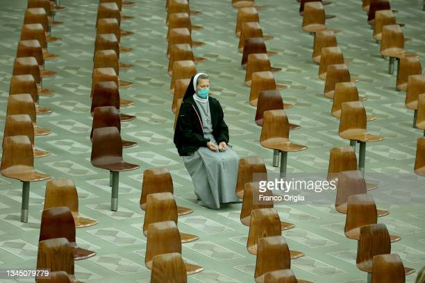 Nun attends Pope Francis' weekly audience at the Paul VI Hall on October 06, 2021 in Vatican City, Vatican. The Vatican on Tuesday organized a...