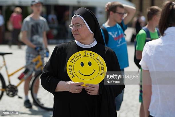 A nun during a rally antiabortion held on 22 May 2016 in Bydgoszcz Poland organised by the local church in support of a recent government initiative...