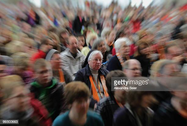 A nun listens to a discussion during the third day of the 2nd ecumenical Kirchentag on May 14 2010 in Munich Germany