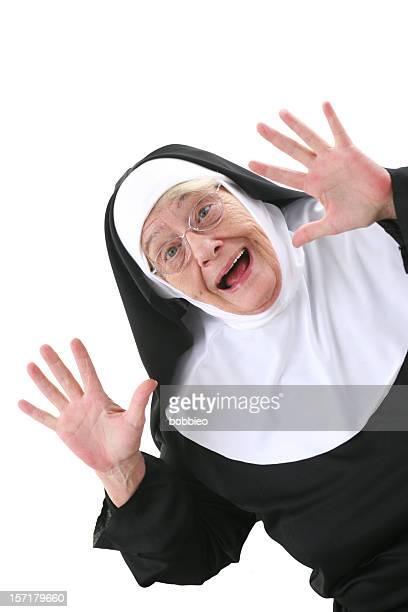 nun series : surprise - nun stock photos and pictures