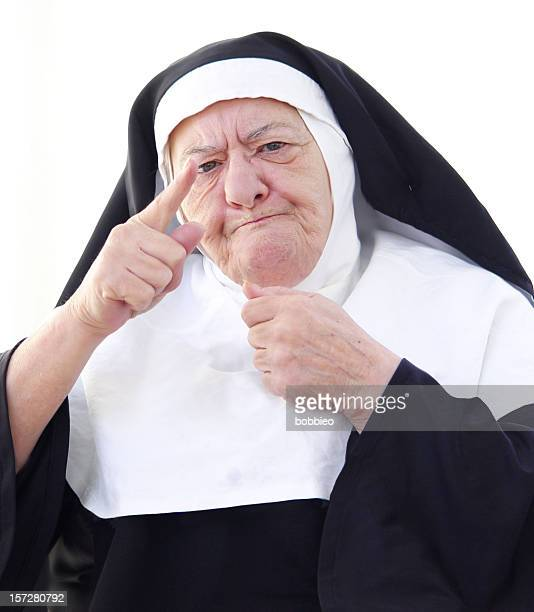 nun series - the lecture - nun stock photos and pictures