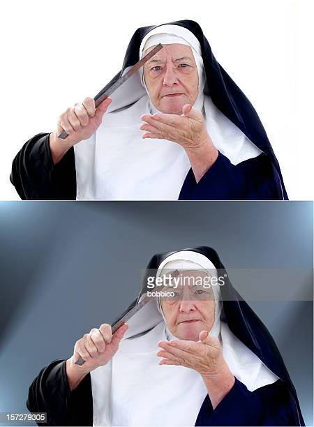 nun series -  the ruler - nun with ruler stock pictures, royalty-free photos & images