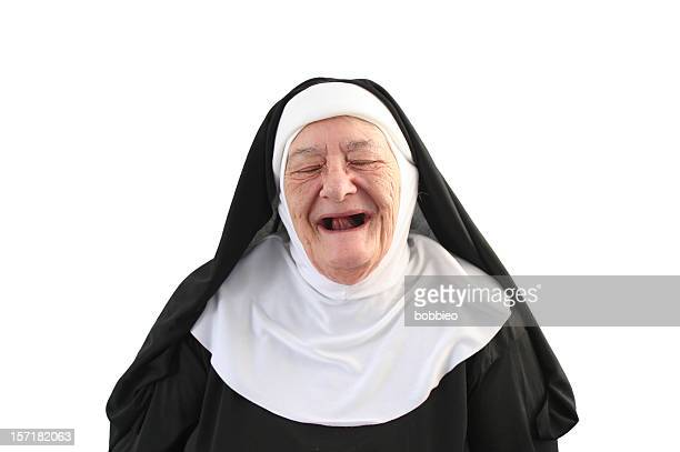 nun series - toothless laugh - nun stock photos and pictures