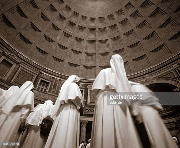 nun statues in pantheon - nun stock photos and pictures