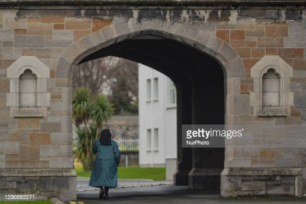 Nun walking on the grounds of the former site Sisters of Charity Magdalene Laundry in Donnybrook, Dublin. The Mother and Baby Homes Commission of...