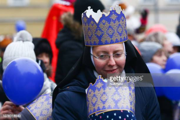 A nun wearing a paper crown takes part in the Epiphany known as Three Kings' Day in Gliwice Poland on January 06 2019 The parade commemorates the...