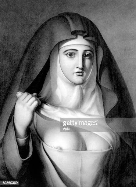 Nun wearing corset to constrict her breast, engraving by Jacques Lequeu c. 1793-1794