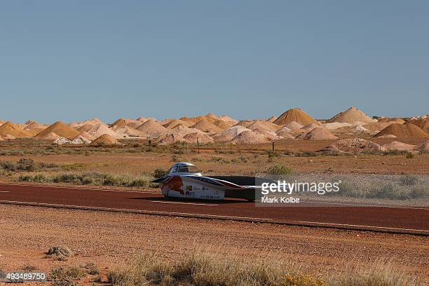 Nuna8 of Nuon Solar Team Netherlands arrive into Coober Pedy as they race on day four in the Cruiser Class of the 2015 World Solar Challenge on...
