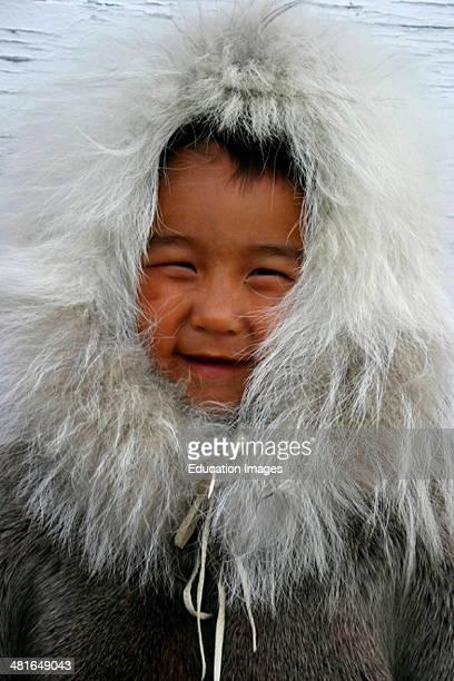 Nunavut 6YrOld Inuit Boy Lance Akoluk Dressed In Traditional Clothing At Bathurst Inlet Canadian Arctic