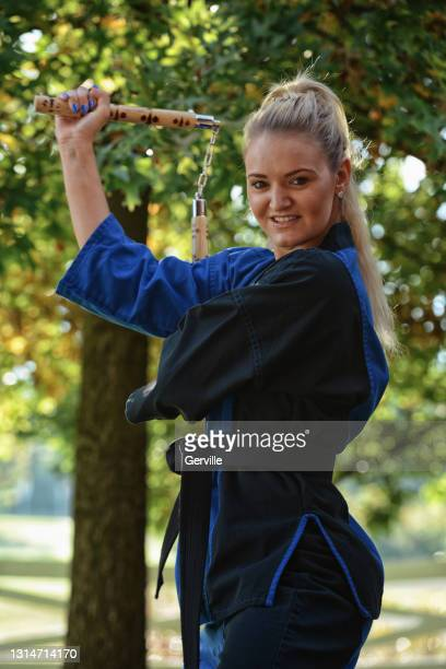 nunchaku profile - gerville stock pictures, royalty-free photos & images