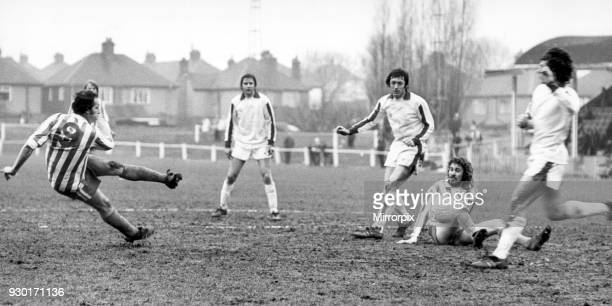 Nuneaton Borough v Yeovil Town 21st February 1976 Borough striker Tony Jacques sends a neat scissor kick goalwards but the Manor Park outfit again...