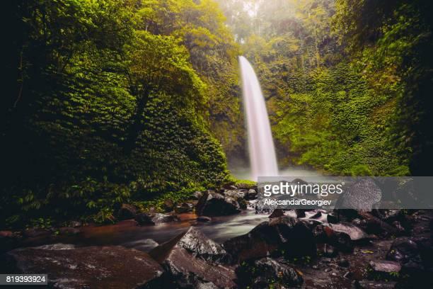 Nungnung Waterfall Splashing in Bali Jungle, Indonesia