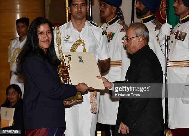 Nungshi Malik receives Tenzing Norgay National Adventure Award 2015 from President Pranab Mukherjee at the Sports and Adventure Awards 2016 at...