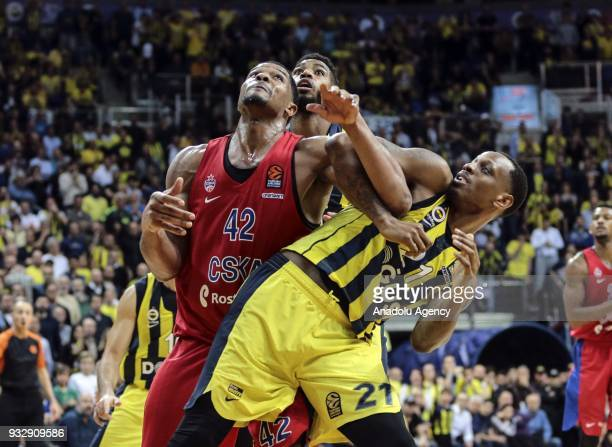 Nunnally of Fenerbahce Dogus in action against Kyle Hines of CSKA Moscow during the Turkish Airlines Euroleague week 26 basketball match between...