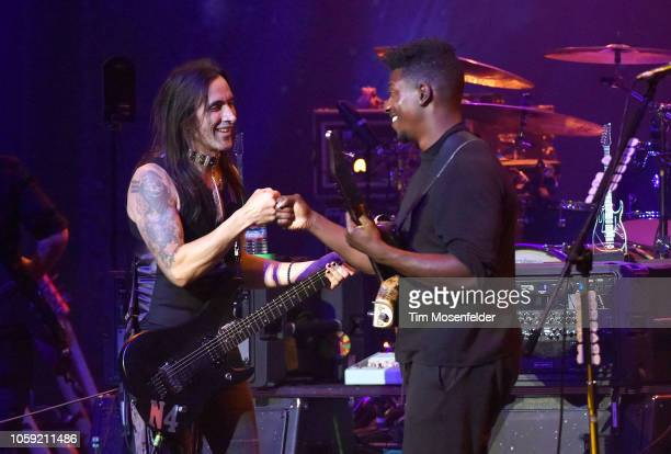 Nuno Bettencourt and Tosin Abasi perform during Generation Axe at the Fox Theater on November 7, 2018 in Oakland, California.