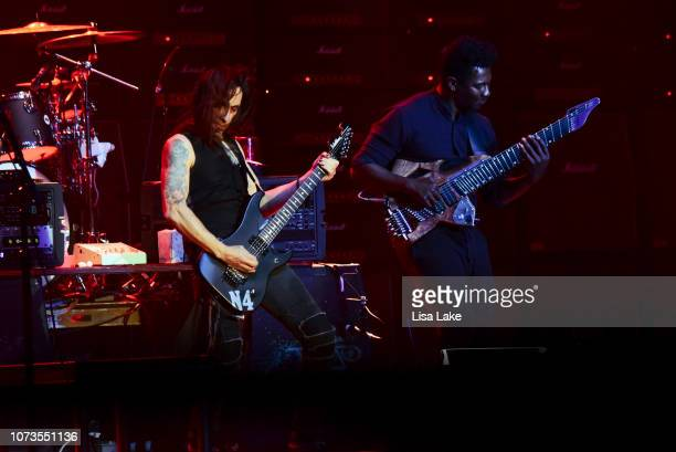 Nuno Bettencourt and Tosin Abasi perform during the Generation Axe tour at Sands Bethlehem Event Center on November 27, 2018 in Bethlehem,...