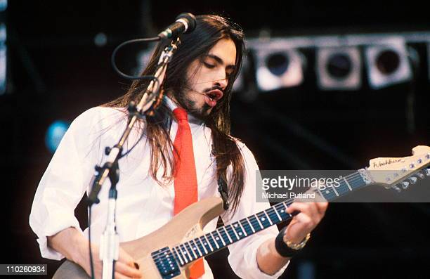 Nuno Bettencourt of Extreme performing at Wembley Stadium London during the The Freddie Mercury Tribute Concert for AIDS Awareness 20th April 1992