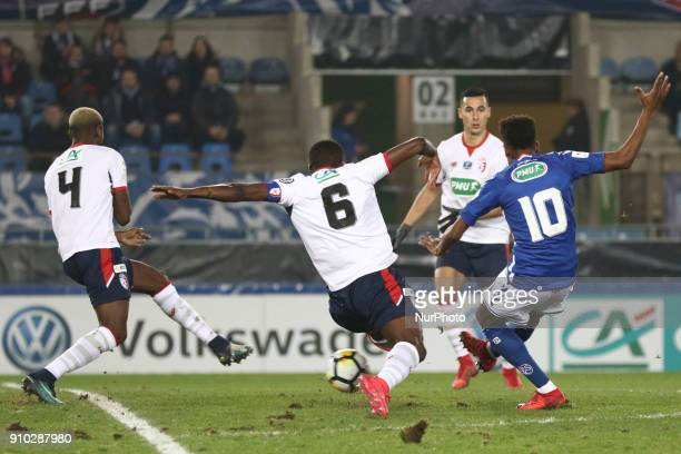 Nuno Da Costa of Racing Strasbourg vies Amadou Ibrahim 6 of Lille during the French Cup football match between Strasbourg and Lille on January 25...
