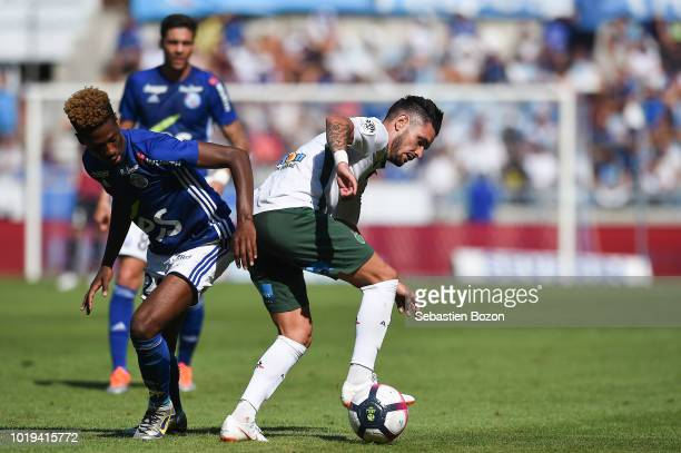 Nuno Da Costa of Strasbourg and Remy Cabella of Saint Etienne during the French Ligue 1 match between Strasbourg and Saint Etienne at La Meinau...