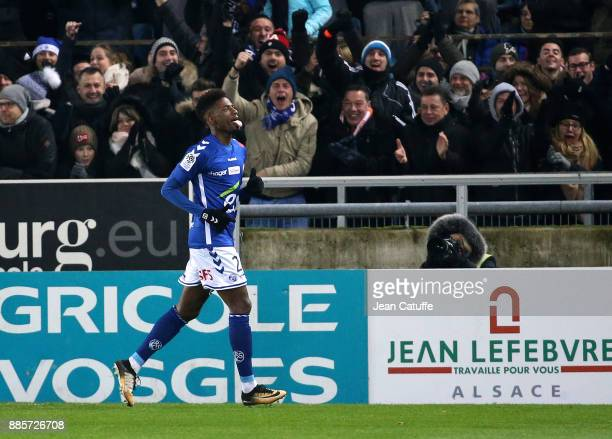 Nuno Da Costa of Strasbourg celebrates his goal during the French Ligue 1 match between RC Strasbourg Alsace and Paris Saint Germain at Stade de la...