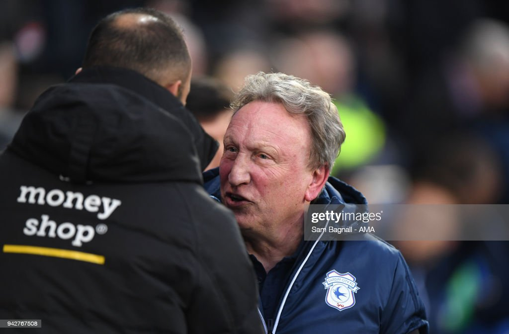 Nuno Espirito Santo manager / head coach of Wolverhampton Wanderers and Neil Warnock manager / head coach of Cardiff City during of the Sky Bet Championship match between Cardiff City and Wolverhampton Wanderers at Cardiff City Stadium on April 6, 2018 in Cardiff, Wales.