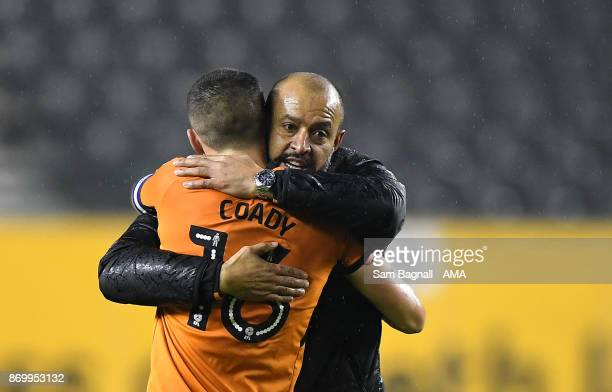 Nuno Espirito Santo manager / head coach of Wolverhampton Wanderers celebrates at full time with Conor Coady of Wolverhampton Wanderers during the...