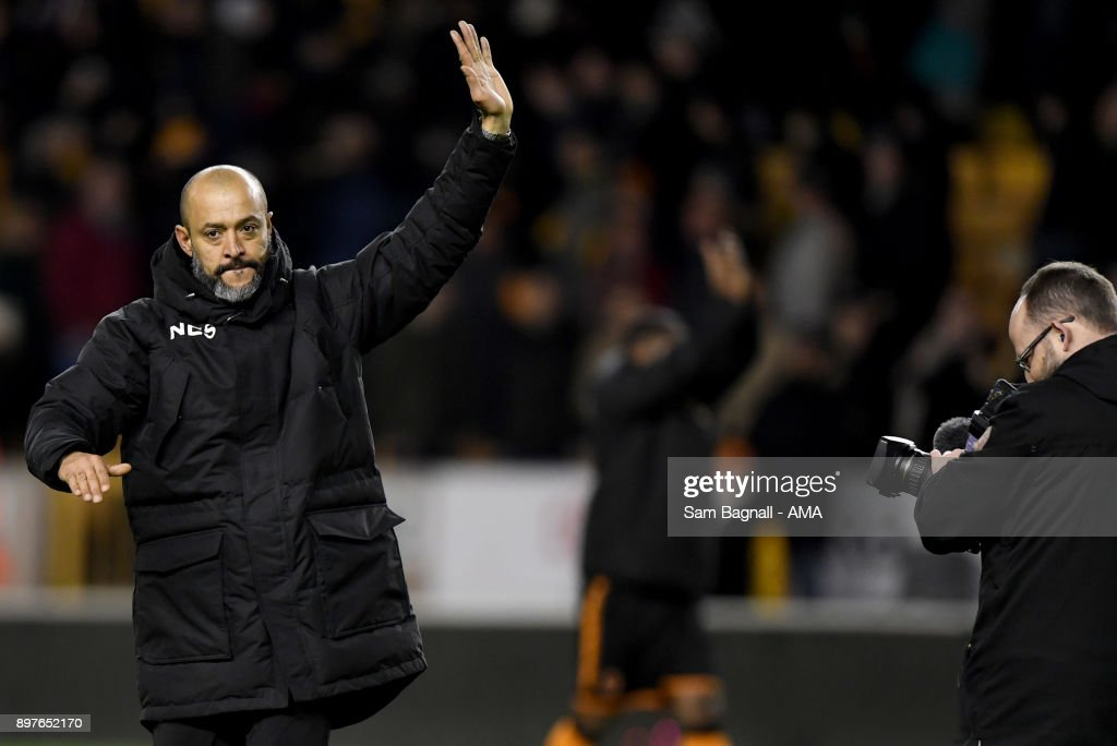 Nuno Espirito Santo manager / head coach of Wolverhampton Wanderers at full time during the Sky Bet Championship match between Wolverhampton and Ipswich Town at Molineux on December 23, 2017 in Wolverhampton, England.