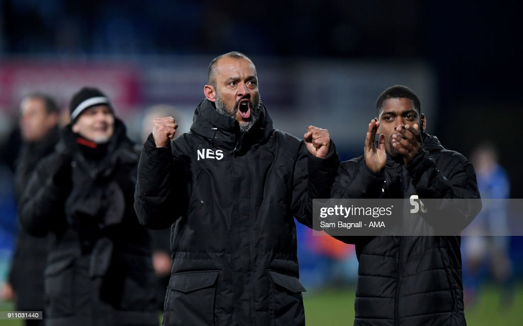 Nuno Espirito Santo manager / head coach of Wolverhampton Wanderers celebrates at full time during the Sky Bet Championship match between Ipswich Town and Wolverhampton at Portman Road on January 27, 2018 in Ipswich, England.