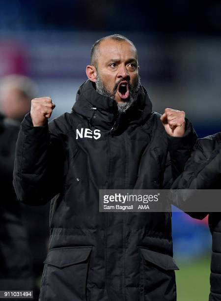 Nuno Espirito Santo manager / head coach of Wolverhampton Wanderers celebrates at full time during the Sky Bet Championship match between Ipswich...