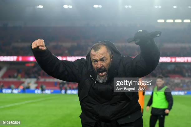 Nuno Espirito Santo manager / head coach of Wolverhampton Wanderers celebrates at full time during the Sky Bet Championship match between...