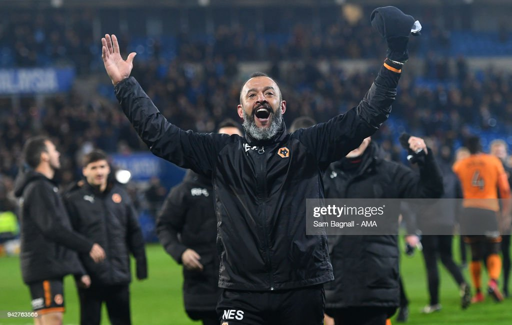 Nuno Espirito Santo manager / head coach of Wolverhampton Wanderers celebrates at full time during of the Sky Bet Championship match between Cardiff City and Wolverhampton Wanderers at Cardiff City Stadium on April 6, 2018 in Cardiff, Wales.