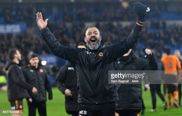 Nuno Espirito Santo manager / head coach of Wolverhampton Wanderers celebrates at full time during of the Sky Bet Championship match between Cardiff...