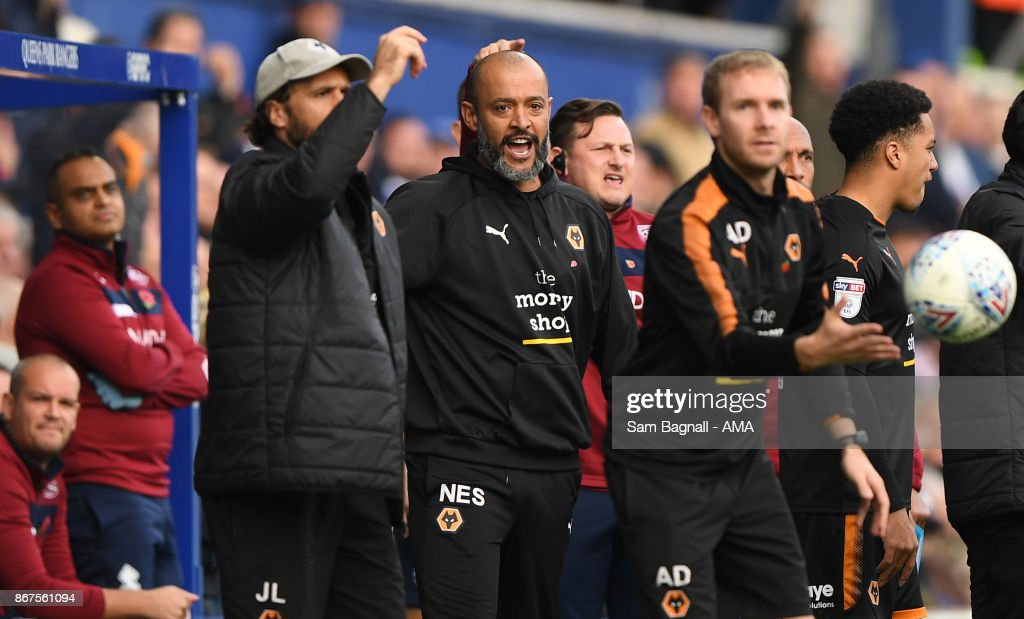 Nuno Espirito Santo manager / head coach of Wolverhampton Wanderers during the Sky Bet Championship match between Queens Park Rangers and Wolverhampton at Loftus Road on October 28, 2017 in London, England.