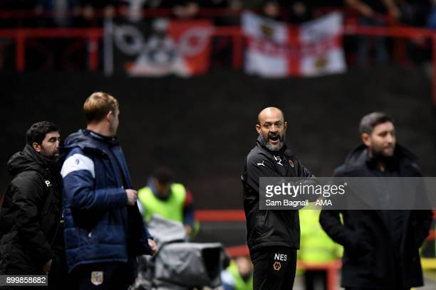 Nuno Espirito Santo manager / head coach of Wolverhampton Wanderers argues with Lee Johnson manager / head coach of Bristol City during the Sky Bet...