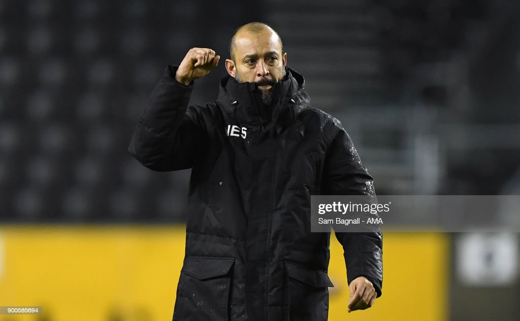 Nuno Espirito Santo manager / head coach of Wolverhampton Wanderers during the Sky Bet Championship match between Wolverhampton and Brentford at Molineux on January 2, 2018 in Wolverhampton, England.