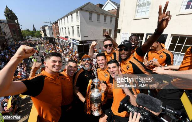 Nuno Espirito Santo manager / head coach of Wolverhampton Wanderers with his players during their celebrations of winning the Sky Bet Championship on...