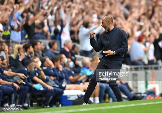 Nuno Espirito Santo, Manager of Tottenham Hotspur celebrates their side's first goal scored by Heung-Min Son of Tottenham Hotspur during the Premier...
