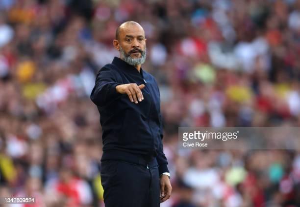 Nuno Espirito Santo, Manager of Tottenham Hotspur gestures during the Premier League match between Arsenal and Tottenham Hotspur at Emirates Stadium...