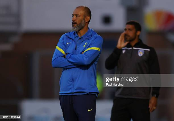 Nuno Espirito Santo, Manager of Tottenham Hotspur looks on during the Pre-Season Friendly match between Colchester United and Tottenham Hotspur at...