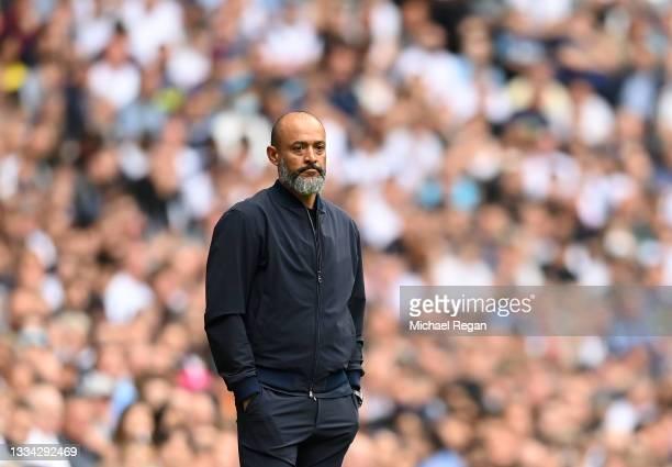 Nuno Espirito Santo, Manager of Tottenham Hotspur looks on during the Premier League match between Tottenham Hotspur and Manchester City at Tottenham...