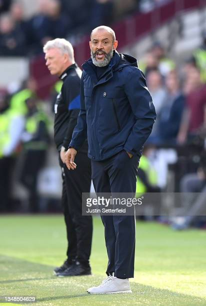 Nuno Espirito Santo, Manager of Tottenham Hotspur reacts during the Premier League match between West Ham United and Tottenham Hotspur at London...