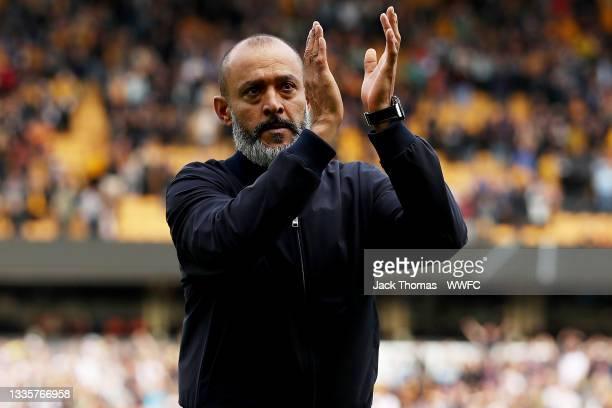 Nuno Espirito Santo, Manager of Tottenham Hotspur shows his appreciation to the fans following the Premier League match between Wolverhampton...