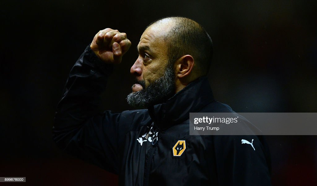 Nuno Espirito Santo, Manager of Wolverhampton Wanderers celebrates at the final whistle during the Sky Bet Championship match between Bristol City and Wolverhampton Wanderers at Ashton Gate on December 30, 2017 in Bristol, England.