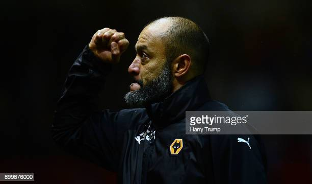 Nuno Espirito Santo Manager of Wolverhampton Wanderers celebrates at the final whistle during the Sky Bet Championship match between Bristol City and...