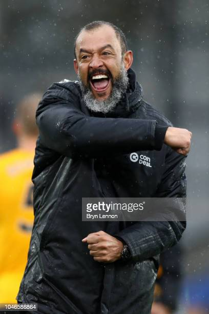 Nuno Espirito Santo Manager of Wolverhampton Wanderers celebrates his team's victory after the Premier League match between Crystal Palace and...