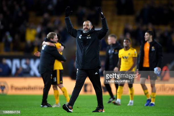 Nuno Espirito Santo Manager of Wolverhampton Wanderers celebrates his team's victory after the Premier League match between Wolverhampton Wanderers...