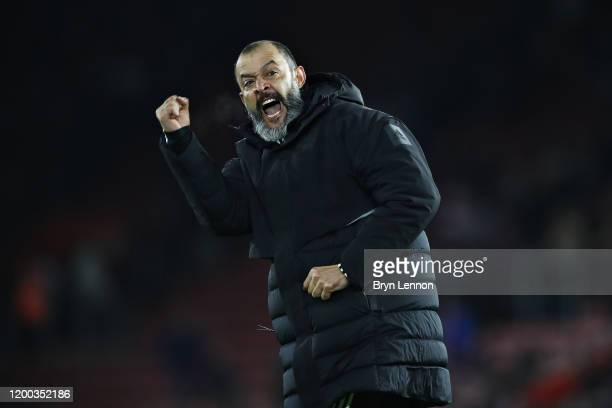 Nuno Espirito Santo Manager of Wolverhampton Wanderers celebrates his sides win during the Premier League match between Southampton FC and...