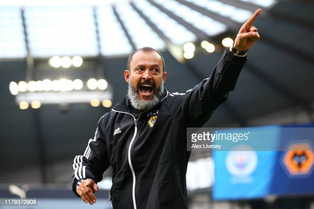 Nuno Espirito Santo Manager of Wolverhampton Wanderers celebrates victory in the Premier League match between Manchester City and Wolverhampton...